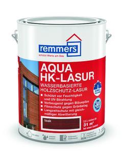 Die Aqua HK-Lasur ist eine schnell trocknende Premium-Holzschutz-Lasur auf Wasserbasis. Als 3in1-Lasur vereint sie Imprägnierung, Grundierung und Lasur in einem, Bildquelle: Remmers Baustofftechnik, Löningen
