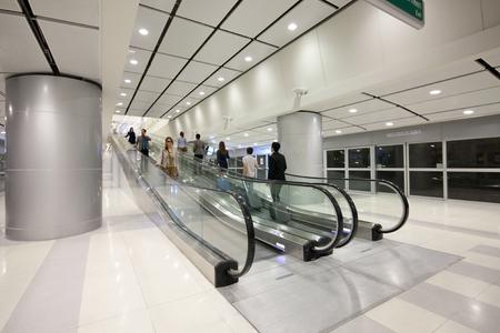 Bringing mobility to Thailands stations: Moving walks installed in one of stations of Suvarnabhumi Airport Rail Link in Bangkok, Thailand