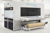 VEN SPRAY SMART coating machine with paper belt and web belt transport as well as paint recovery system.  Venjakob offers everything from pre-treatment and drying units to complete finishing lines.