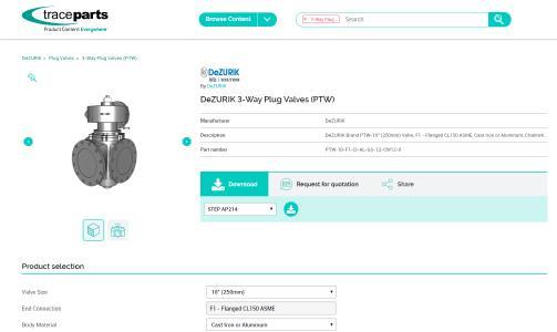 Absperr- und Regelventile von DeZURIK, Inc. jetzt auf TraceParts verfügbar.