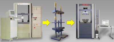 Materialprüfmaschine vor und nach der Modernisierung