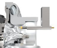 Flexibler Einbau der Wirbelstromsensorköpfe am Turoblader-Prüfstand