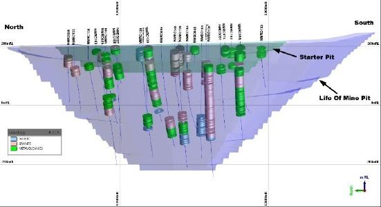 Shows the drill hole locations for the composites of the AachenTM testwork