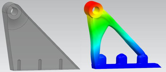BU 1: Beispiel 2: Einfache Halterung zur Befestigung von Anbauteilen im Motorraum: Reduktion der Bauteilmasse von 50% bei gleicher Funktionalität und Haltbarkeit.