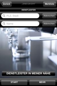 Indukom Screen Dienstleister-Suche