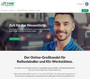 Screenshot der Startseite des Online-Großhändlers Tyresystem. Fotograf/Quelle: RSU GmbH