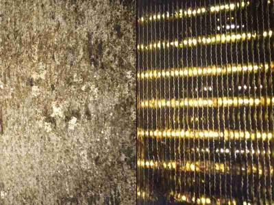 Lamellenwärmetauscher einer Molkerei, links vor und rechts nach der Reinigung