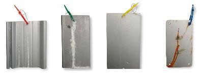 SurTec 609 ZetaCoat: 600 h auf feuerverzinktem Stahl, 600 h auf galvanisch verzinktem Stahl, 600 h auf Aluminium, 600 h auf kalt gewalztem Stahl (von links nach rechts)