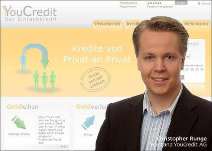 YouCredit.com Screenshot mit Vorstand Christopher A. Runge