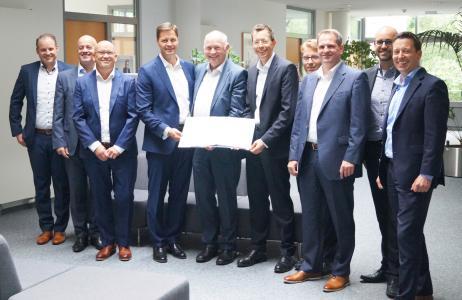 Unterzeichnung des Outsourcing-Vertrags am 17. Juli 2019 in Gütersloh / Copyright: Arvato Systems