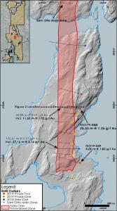 Abbildung 1: Oberflächentrend der Sam Otto-Mineralisierung, der zeigt, dass die Bereiche der Phase Zwei-Bohrungen 2019 die Sam Otto South-Mineralisierung in der Tiefe und entlang des Streichens bestätigen und erweitern