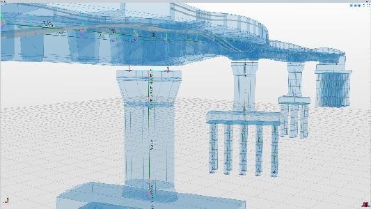 In Allplan Bridge wird das statische Modell automatisch aus dem geometrischen Modell abgeleitet. Der Ingenieur behält die volle Kontrolle darüber, welche Bauteile zum Tragverhalten beitragen und welche nur Lasten darstellen. Copyright: ALLPLAN Infrastructure
