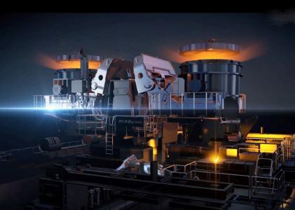 Die Gießbühne der neuen Brammenstranggießanlage bei Nucor in Brandenburg, Kentucky, USA