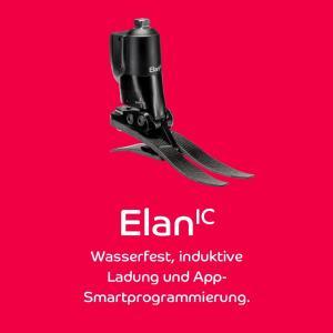 Die Innovation: ElanIC ist der weltweit leichteste, wasserfeste hydraulische Knöchelgelenksfuß mit Mikroprozessorsteuerung, Induktionsladung und App-Smart-Programmierung