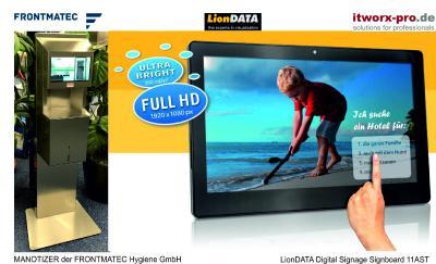 MANOTIZER von FRONTMATEC mit LionDATA 11AST Digital Signboard
