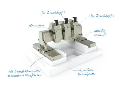 Präzise, dynamisch, zuverlässig und flexibel: Speziell für 3D-Druckverfahren in der Pharmaindustrie hat Steinmeyer Mechatronik ein leistungsstarkes Gantry-System entwickelt