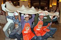 euroPLX participants trying to prepare the world's largest pizza doe in the honour of the 50th euroPLX Meeting