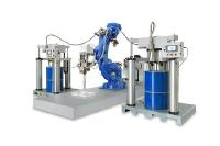 The new system solution for battery encapsulation, consisting of the high-performance dispenser Dos HP and the material feeding unit PailFeed200 Abrasive, offers dispensing speeds of up to 80 ml/s even when using highly abrasive thermally conductive media