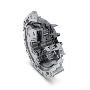 Das Getriebe in koaxialer Anordnung aus dem Hause Schaeffler treibt die Hinterachse des Audi e-trons an. Es zeichnet sich durch einen hoch integrierten gestuften Planetenradsatz in Kombination mit einem Stirnraddifferenzial aus. Dadurch ergibt sich eine besonders gute Bauraumnutzung im Fahrzeug / Foto: Schaeffler