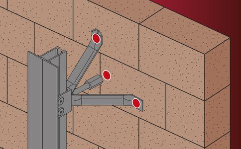 Die EJOT Fassadendübel mit Anschlussgewinde eignen sich zur Verankerung von horizontal und schräg angeordneten Edelstahlstäben, an denen Tragprofile für die Fassadenbekleidung befestigt werden