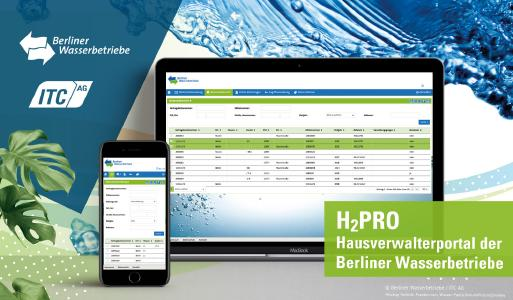 """Das """"H2PRO – Portal der Berliner Wasserbetriebe für Hausverwaltungen"""" bietet  nach einem System-Update nun im Front- und Backend noch mehr Funktionalitäten. Die neuen Features des Portals basieren auf dem """"Cockpit Professional"""" der Plattform PowerCommerce® der ITC AG. Diese Expertenansicht ist speziell auf die Anforderungen von Verwaltungen zugeschnitten, um Prozesse mit hohem personellem Aufwand weiter zu optimieren. Auch die Portal-App von """"H2PRO"""" für Android und iPhone wurde aktualisiert."""