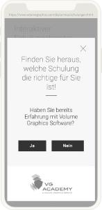 Volume Graphics Website mobile Ansicht Schulung