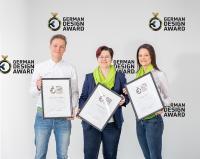 Kerstin Molzbichler und ihr Team freuen sich über das Triple beim German Design Award. Im Bild v.li.: Leon Koopman (Team Design), Kerstin Molzbichler (Leitung Team Design) und Doris Rausch (Team Design) / © W&H
