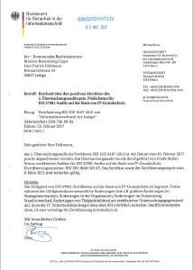 Vom BSI bescheinigt: Das zweite Überwachungsaudit im laufenden BSI-Zertifizierungszeitraum wurde durch das krz erfolgreich gemeistert (Bild: krz)