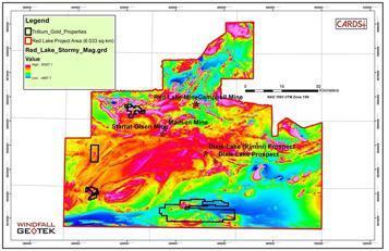 Abbildung 1 Regionale Goldsignatur basierend auf den Ontario Supergrid Magnetic Data (Red Lake-Stormy) und SRTM bei 40 m Auflösung