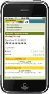 Homepage WestLotto mit iPhone genutzt