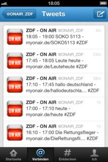Sendungen des ZDF - Ansicht auf iPhone