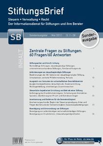 Die Stiftungsbrief-Sonderausgabe gibt Antworten auf 60 Fragen rund um Stiftungen