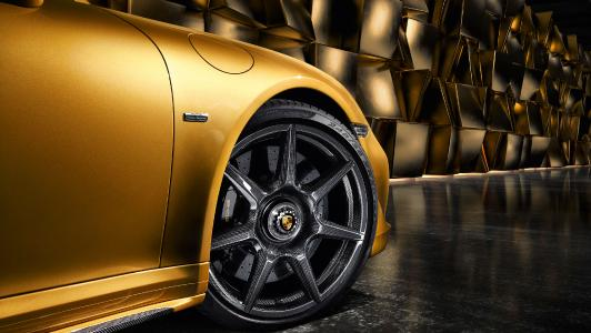 World Premiere: The braided carbon wheel for the Porsche 911 Turbo S Exclusive Series. Source: Porsche Newsroom