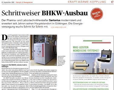 Schrittweiser BHKW-Ausbau - BHKW des Monats September 2018 (Bild: Energie&Management)