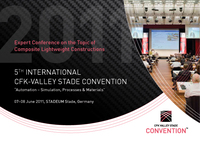 "International experts speak on the topic of ""CFRP Automation – Simulation, Processes & Materials"" at the 5th CFK-Valley Stade Convention on 07-08 June"
