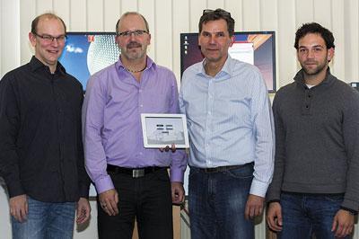 L to r: Henry Niemeyer and Martin Althaus, Product Management Guntermann & Drunck GmbH with Uwe Thomas and Philip Weber, Medientechnik Thomas GmbH
