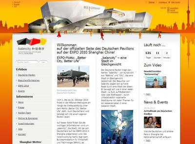Die Offenburger avenit AG hat für die Koelnmesse International im Namen des Bundesministeriums für Wirtschaft und Technologie die Internetpräsenz für den Deutschen Pavillon auf der EXPO 2010 in Shanghai realisiert
