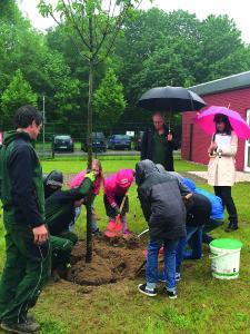 Die Kinder der Schulgarten AG hatten viel Spaß beim Einpflanzen der neuen Esskastanie. (Bild: Piepenbrock)