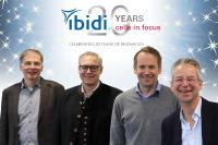 Archive image of the ibidi GmbH founders. From left to right: Prof. Dr. Joachim Rädler (Board Member), Dr. Roman Zantl (CEO), Dr. Valentin Kahl (CEO), Dr. Ulf Rädler (Director of Business Development)