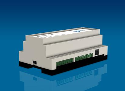 BlueID Rail Module grants access via mobile phone. The module is designed for mounting on M36 DIN rail (EN50022)