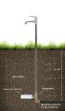 Einbau des Gartenstandrohrs in den Boden.