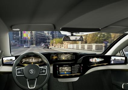 The vehicle interior of the future: Continental gives us a peek into the luxury vehicle interior of the future. The integrated cockpit system uses large glass areas to display information – from digital side mirrors to the central display / Picture: © Continental AG
