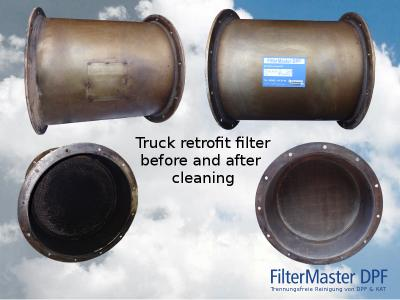 ruck retrofit filter before and after cleaning with FilterMaster