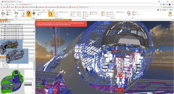 3DViewStation WebViewer: fly through, internal parts removal, IP protection: BREP alienation
