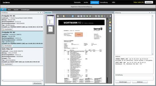 Dokumenten-Freigabe im UniWeb-Browser