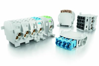 Weidmüller WPD X01-X03 mail line branch terminals: slim main line branch terminals with approval for aluminium conductors. - Connect main lines in the smallest of spaces