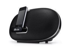 Denon Cocoon Portable Schrägansicht mit angedocktem iPhone