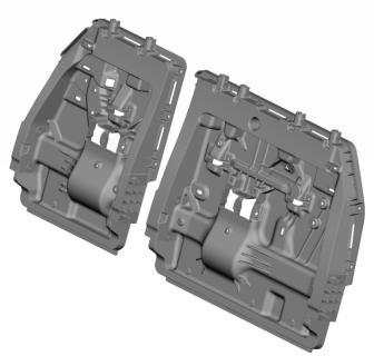 CAD Rendering des Kunststoff-Rückrahmens der neuen dritten Sitzreihe im Toyota Sienna 2021, entwickelt vom nordamerikanischen Toyota Forschungs- und Entwicklungsteam und dem Zulieferer BASF, gefertigt von Flex-N-Gate. Das Design und die Materialien erfüllten die Ziele für Leichtbau und eine höhere Kundenzufriedenheit – bei gleichzeitig geringeren Kosten.