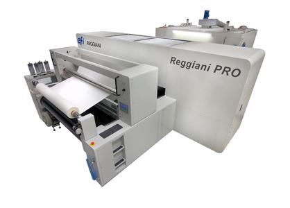 DuPont™ Artistri® PK2600 digital textile pigment ink is made for Reggiani ReNOIR digital textile printers.  Photo courtesy of EFI Reggiani