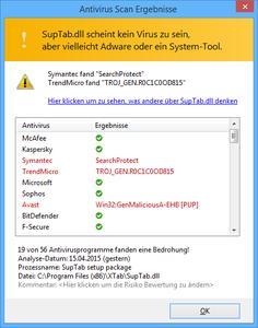 Screenshot: Blitzschneller Antivirus Scan (442 x 562 Pixel)